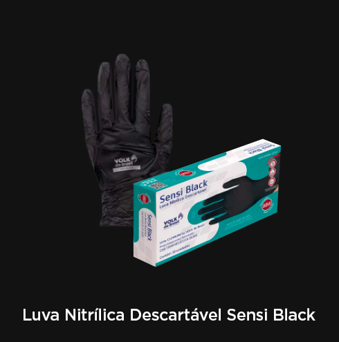 Luva Nitrílica Descartável Sensi Black - RF